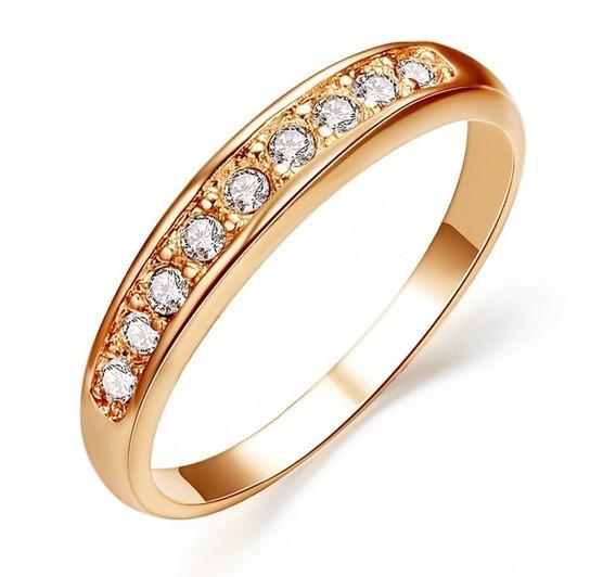 Anel Meia Aliança Feminino Banhado Ouro Rosé 18k