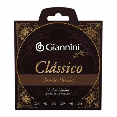 Encordoamento Giannini Violão Nylon Prateado 65/35 Alta