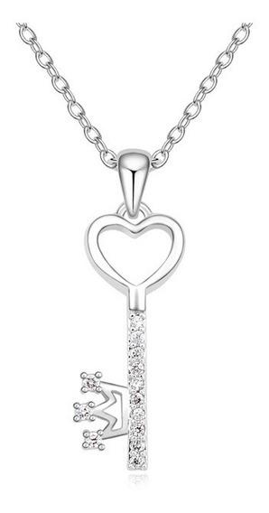 Collar Llave De Chapa De Oro Con Cristal Austriaco - 1233
