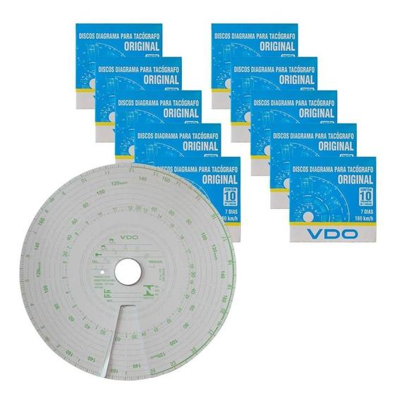 Kit 10 Caixas Disco Diagrama Tacógrafo Semanal 180km 7d Vdo