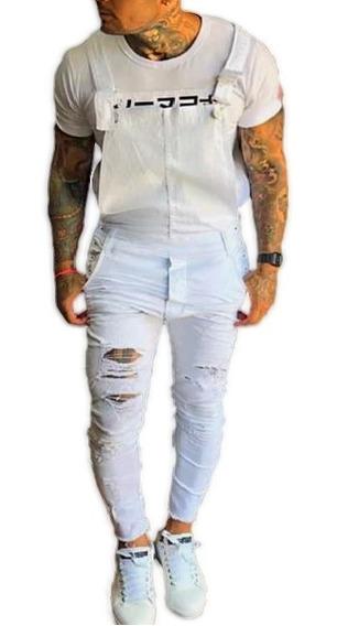 Macacão Jeans Super Skinny Destroyed Jardineira Masculino