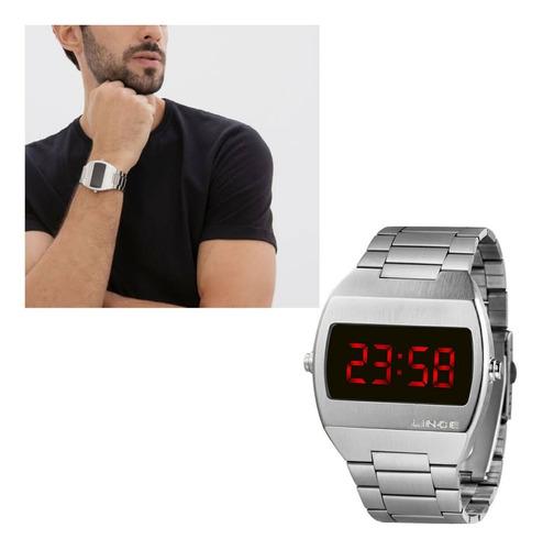 Relógio Lince Masculino Prateado Original Led Mdm4620l Vxsx