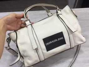 Bolsa Calvin Klein Branca De Couro