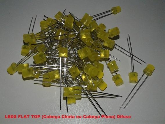 100 Leds 5mm Difusos Flat Top Amarelo Com Suportes