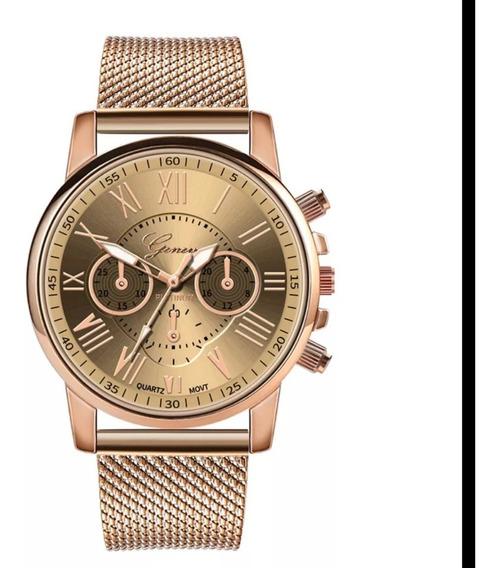 Relogio Luxo Dourado Feminino Classico