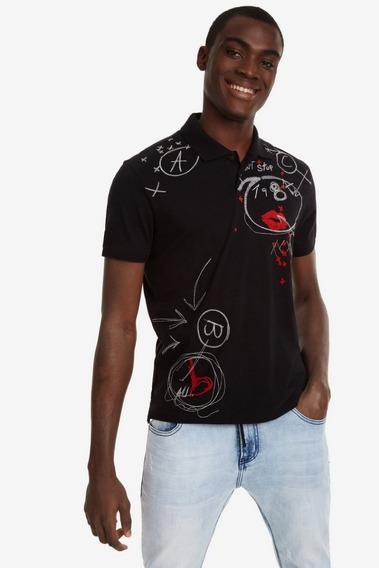 Camiseta Polo Caballero Textil Negro Desigual