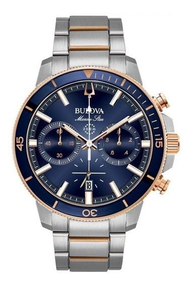 Relógio Bulova Masculino Marine Star 98b301 Azul Misto Rose