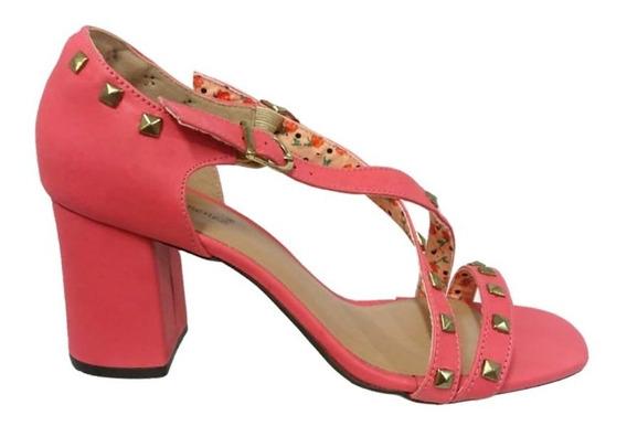 Sandália Salto Alto Grosso Ana Gimenez Pink Spikes 009858
