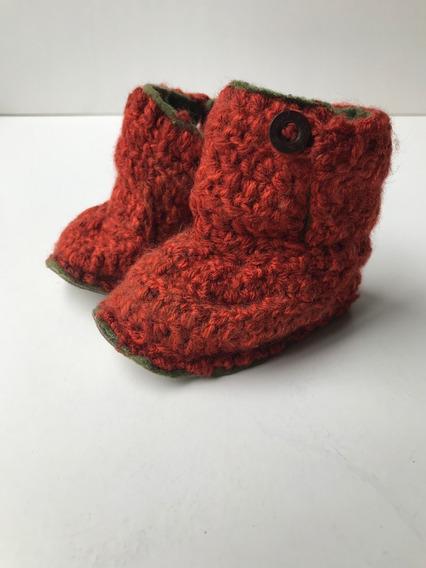 Botita, Pantufla Para Bebés De Lana Tejidas Con Corderito