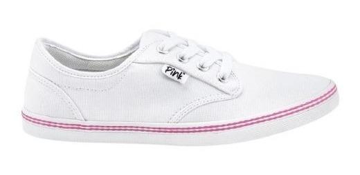 Tenis Salir Pasear Basico Casual Pink 4334 Blanco Mujer