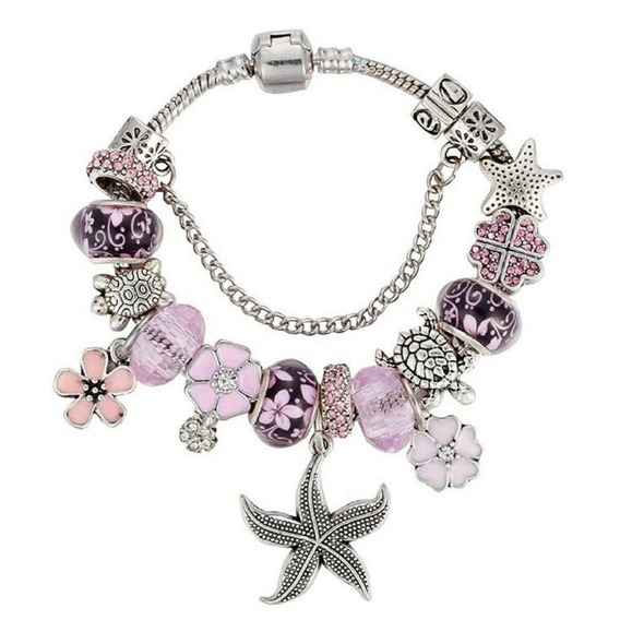 Pulseira Berloques Pink Star 23cm Folheada Prata Com Trava