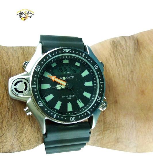 Relógio Masculino Atlantis A3220 Aqualand Jp2000 Preto Borra