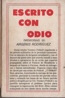 Escrito Con Odio Argenis Rodriguez U05903