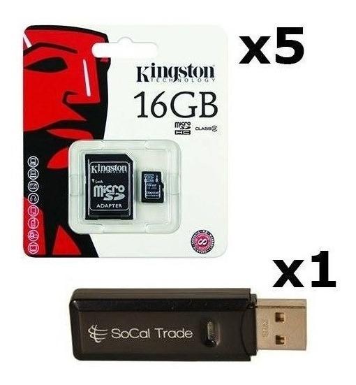5 Pack - Kingston 16gb Microsd Hc Class 4 Tf Microsdhc Trans