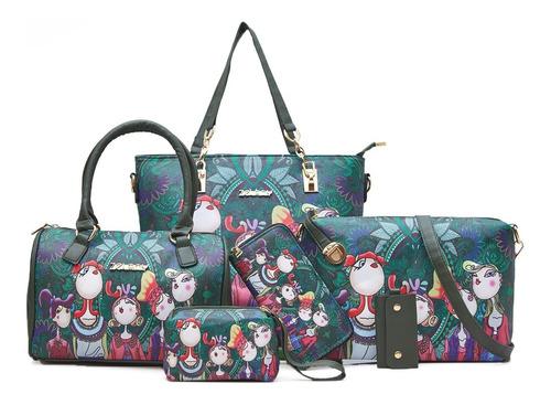 Imagen 1 de 9 de Set 6 Bolsas Floral Moda Elegante Mujer Estampado Versatil
