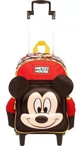 Mochila Mickey Mouse Alto Relevo Escolar Infantil Rodinhas 19y Tam M Sestini