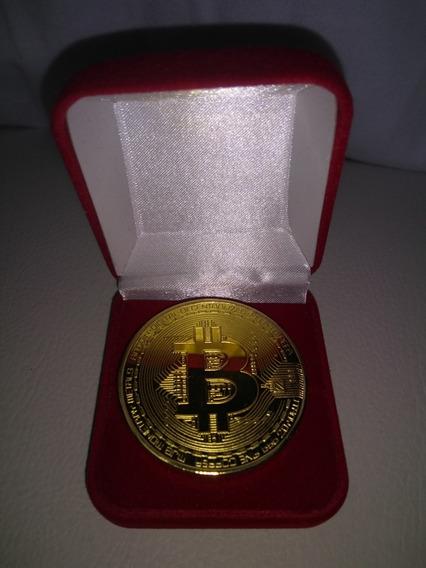Moeda Comemorativa Bitcoin Banhado A Ouro 18k