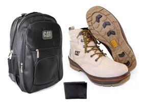 Bota Coturno Botina Carterpillar+mochila+carteira Barato