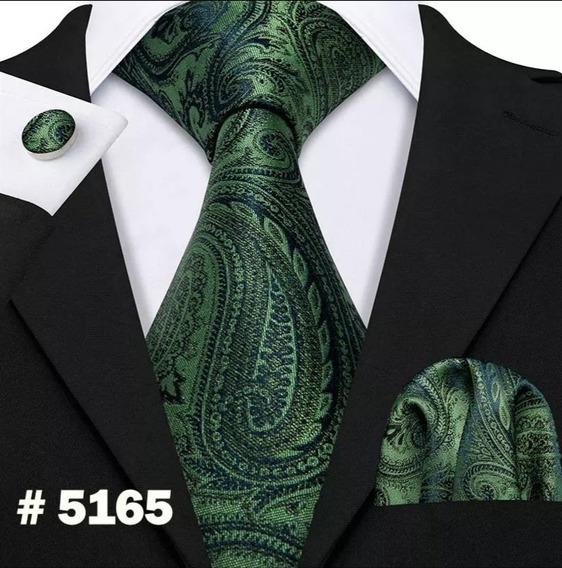 Corbata 100% Seda, Pañuelo Y Mancuernillas