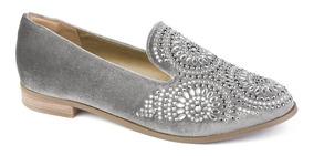 Sapato Oxford Feminino Flamarian Veludo Cinza 44007-cz