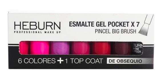 Heburn Set X7 Esmalte Gel Pocket 01 Color Uñas Manicuría