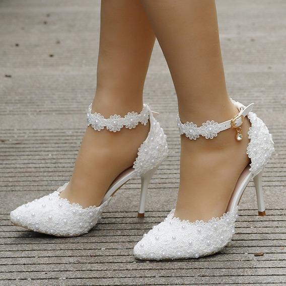 Sapato Scarpin Noiva Personalizado Pérola E Guipir Branco