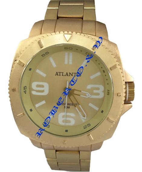 Relógio Masculino Atlantis Dourado + Caixa De Relogio