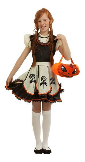 Disfraz Kute Pumpkin Niña Calabaza Bruja Vestido Halloween