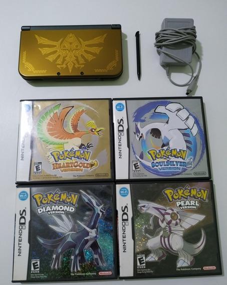 New 3ds Xl Hyrule Edition + Coleção Pokémon Ds