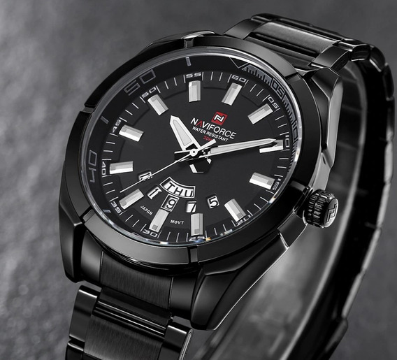 Relógio De Aço Masculino Original Naviforce Modelo Black Edi