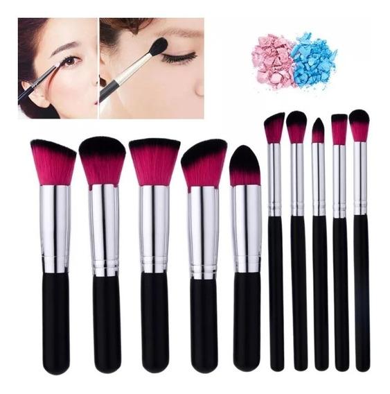 Kit 10 Pincéis Pincel Kabuki Maquiagem Pronta Entrega