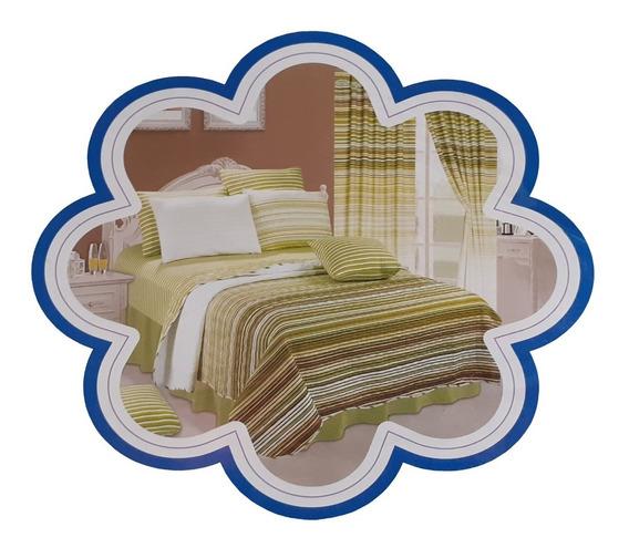 Combo Cobertor Colcha Acolchado + Cortina + Sabanas Queen X3