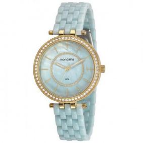 Relógio Mondaine Feminino Dourado Azul 53664lpmvde1 Mondaine