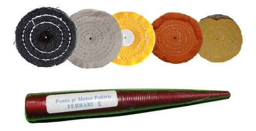 Kit Polimento 5 Rodas + 1 Ponta Para Esmeril Esquerda 6pçs