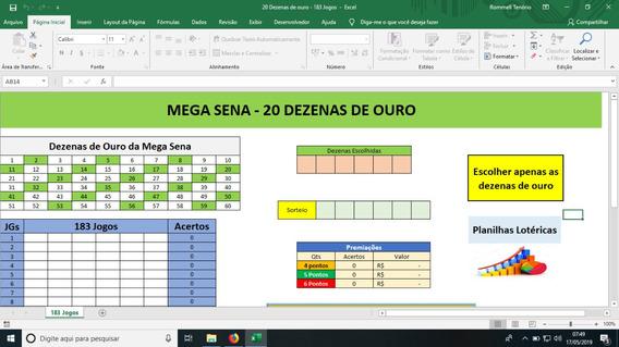 Planilha Mega Sena - 20 Dezenas De Ouro - Garantia De Quina