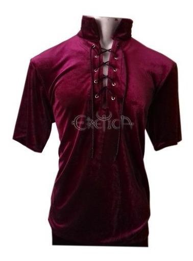 Eretca Ropa Dark-camisa Terciopelo Vino Corta-gotico-rock