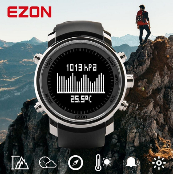 Relógio Ezon 506b01 /altímetro/barômetro/bússola -5atm