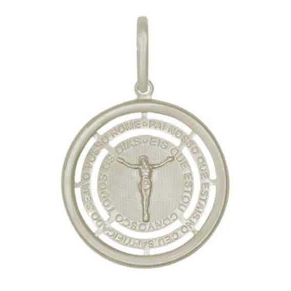 Corrente Cartier Cadeado + Medalha Crucifixo 5mm 60cm Prata