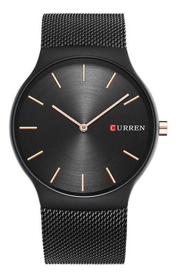 Relógio Curren 8256 Preto Aço Inoxidável Com Nota Fiscal
