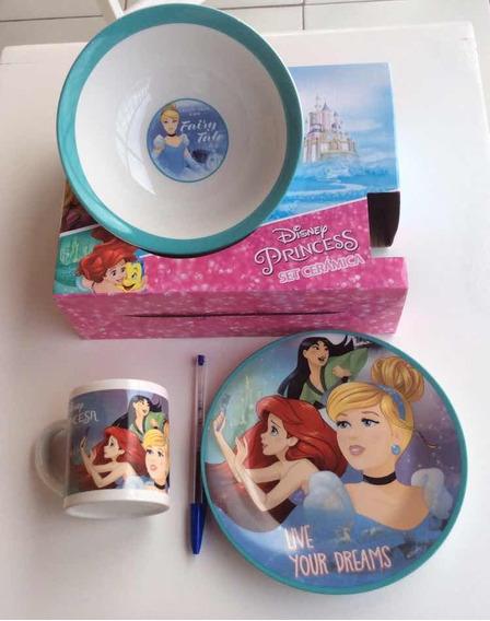 Louça Infantil Princesas Disney Bebê Prato Caneca Bolw