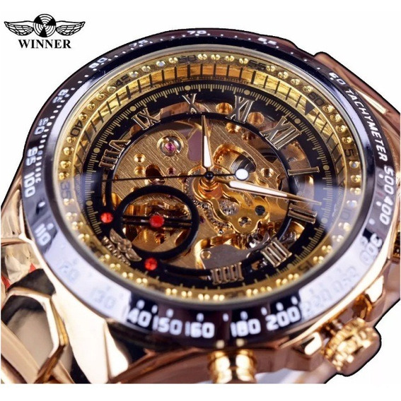 Relogio Dourado Winner Automatico Original Dl400