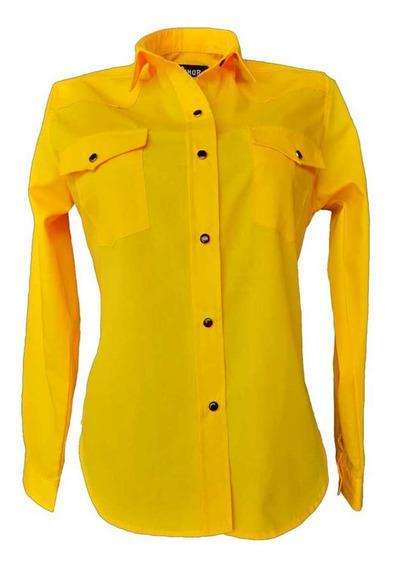 Blusa Vaquera Amarilla Manga Larga Para Mujer