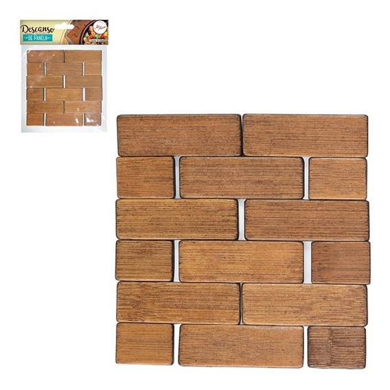 Descanso Panela De Bambu Quadrado 40 Unidades 12x12cm Zf3325