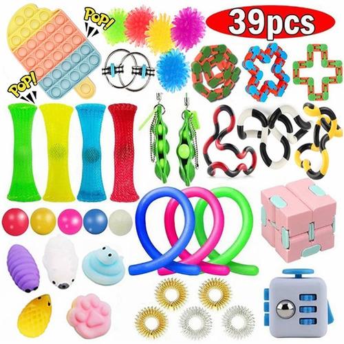 Kit De Brinquedo Sensorial Fidget Cube Pop It 39pcs