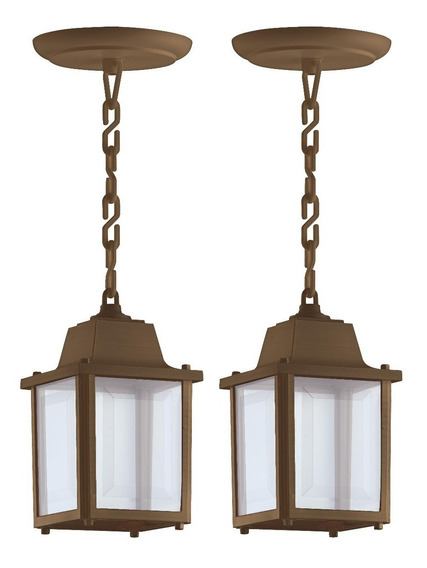 2 Luminaria Pendente Externo Colonial Pergolado Marrom Alz15