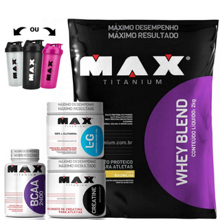Kit Suplementos Whey Blend 2kg + Creatina + Bcaa + Glutamina