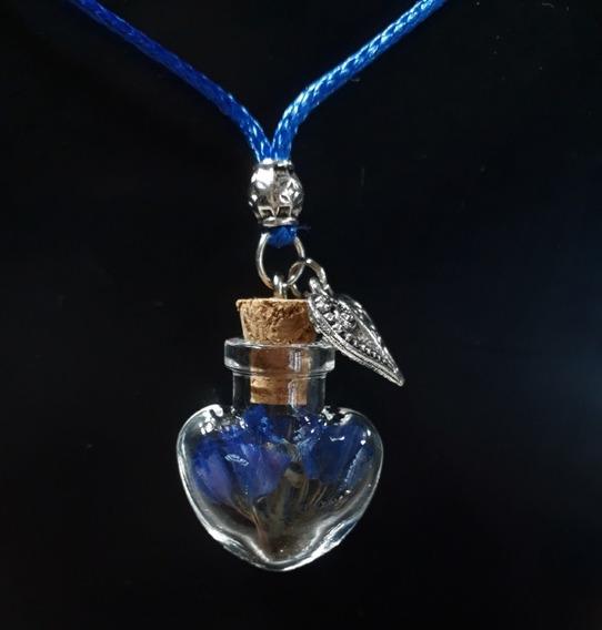 Colar Feminino Coração Flor Natural Azul
