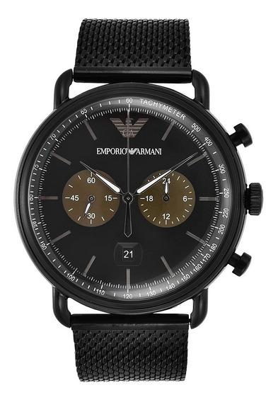Relógio Emporio Armani Aviator Grafite Ar 11142 Novo Caixa