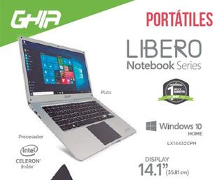 Portatil Ghia Libero E 14.1puLG Plastic Silver/ Celeron N335