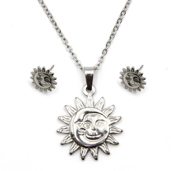 Set De Joyeria Plateado Cadena Aretes Dije Eclipse Sol Eg